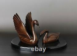 Beautiful Signed bronze pair of Swans Okimono object KK72