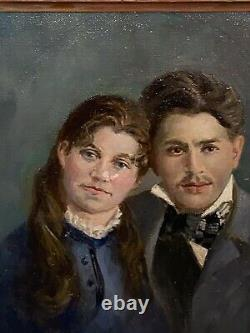 Beautiful Vintage Framed Oil Painting Portrait Of Couple Signed (as Is!)
