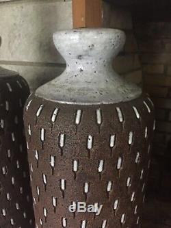 Bitossi Lamp Pair Italy 1960s Glazed Ceramic Mid Century Modern Signed