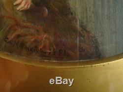 C A Millington Pair Antique Oil Painting Nude Water Babies In Coastal Landscape