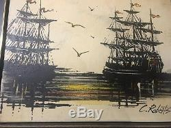 C Roberts Vintage Original Oil Painting On Canvas Signed Pair Of Pirate Ships