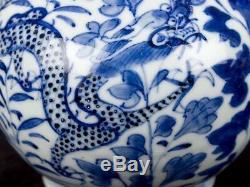 C1820 Pair of Kangxi Blue & White Porcelain Bottle Vases