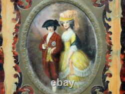COUPLE Antique Miniature PORTRAIT Painting Faux Tortoise Shell Frame Signed