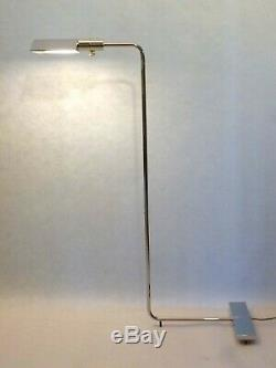 Cedric Hartman Chrome Adjustable Floor Lamps, Signed and Numbered, Pair