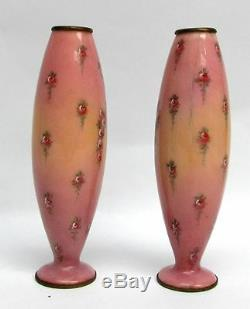 Charming Pair Of Antique Viennese Austrian Enamel Bronze 6 Vases Signed Paolo