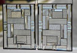 Clear Geo 16 x 20 Pair of Beveled Stained Glass Window Panels