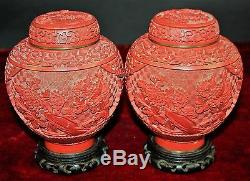 Couple Of Jars. Red Carved Lacquer China. Base Wood. Signed. Circa 1950