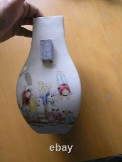 Detailed Signed Pair Antique Chinese Heavy Vases Hand Painted Children Students