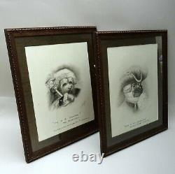 Dogs of the Corporation Pair of Framed 1908 Watercolours Anthropomorphic