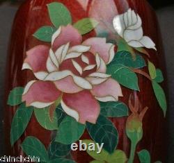 EXTRAORDINARILY Exquisite SIGNED Sato CLOISONNE Mirror Image VASE PAIR Japanese