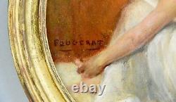 Emmanuel Fougerat Art Nouveau pair of circular French oil paintings nudes 1900