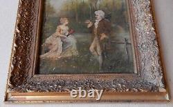European, Romantic Couple, Antique Vintage Original Oil Painting, Signed