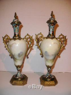 Exquisite Pair Of Antique Porcelain Sevres Champleve French Urns Signed J Aublet
