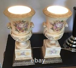 FINE ANTIQUE pair HAND PAINTED FRENCH PORCELAIN URN LAMPS / Signed