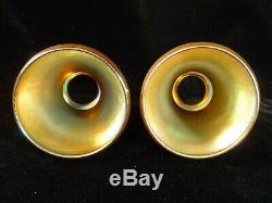 Fabulous Pair Of Signed Steuben Gold Aurene Lamp Shades Circa 1920