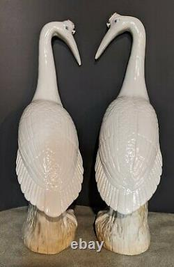 Famille Rose Chinese Export Porcelain Cranes Pair 17 Exceptional Qing MINT