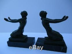 Fayral Art Deco Nude Antique Rare Metal Sculpture Statue Bookends Pair Signed