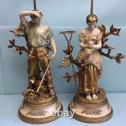 Figural Lamp Pair Spelter after Adrien-Etienne Gaudez Signed, Paris Foundry Mark