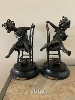 Fine Pair Of Antique 19 Century Franz Iffland German Bronze Joli Chat Sculpture