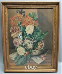 Fine Pair of ALBERT DURER LUCAS (English) Still Life Watercolors c. 1880 antique