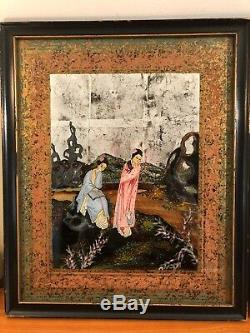 Fine Pair of Antique Chinese Reverse Painting on glass Women Signed C W Berry