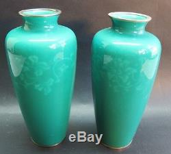 Fine Pair of SIGNED ANDO 8.5 Japanese Wireless Cloisonne Vases c. 1950s MINT+