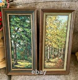 Frame VINTAGE pair Mid century modern SCENIC FOREST trees OIL PAINTINGs Signed