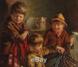 Frederick Pasmore Antique Oil Painting Pair Children Dogs Interior Genre Signed