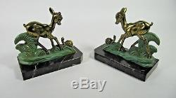 French Antique ART DECO Bookends Spelter Bronzed Deer Signed Marble Base Pair