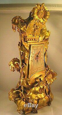 French Dore Bronze SUNFLOWER CLOCK & CANDELABRA PAIR Signed M. Maignan
