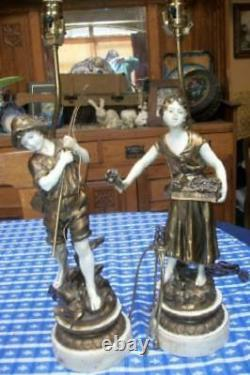 French Moreau Figural Lamps Couple Spelter Original Finish Great Detail Signed
