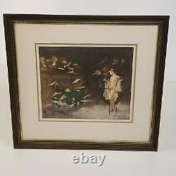 GASTON HOFFMANN 1883 1977 Framed Signed Pair French Courtroom Lithographs Art