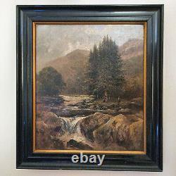 George Wilkins antique oil painting 1879 Pont-y-Pair Rare