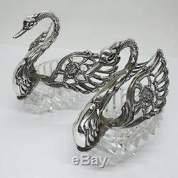Gorgeous Pair of Vintage 835 Silver Crystal Swan Salt Cellars Signed ALBO