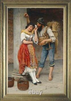 Hand painted Old Master-Art Antique Oil Painting farm couple on canvas 24x36