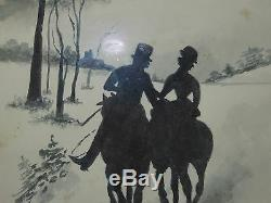 Horsebacker Couple with Their Dog, SIGNED KENT, Silhouette, 20th Century Vintage