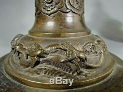 Japan Japanese Pair Bronze Lanterns Signed Hasegawa Harusada Meiji circa 1875