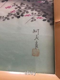 Japanese Painting on Silk Pair of 2 Signed Stamped Bamboo Frames