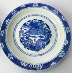 Kangxi Chinese Antique Porcelain Blue And White Dragon Plate Pair 18th Centuries