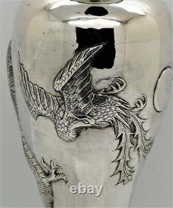 LARGE pair of CHINESE EXPORT solid silver DRAGON & PHOENIX VASES. Signed c1900