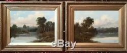 Large PAIR Of OIL PAINTINGS in HEAVY GILT FRAMES English Country Scenes SIGNED
