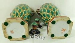 Large Pair Antique/Vtg 18 SIGNED Chinese Fleur De Lis Porcelain Urn Vases