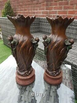 Large Pair of French Art Nouveau Metal Vases, Signed Heingle