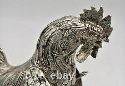Large well modelled PAIR of solid silver FIGHTING COCKS ROOSTERS. C1920. 1,017gm