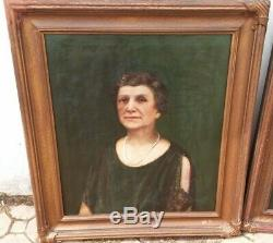 Lrg Pair 36 Antique Oil Painting Portraits by GEORGE BELINE Well Listed Artist