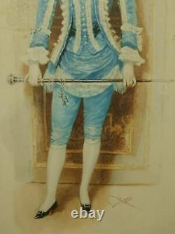 Lucius Rossi (italian, 1846-1913) Pair Original Antique Watercolour Portraits