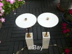 MID Century Modern Hansen Robsjohn Gibbings Marble Lamps Signed A Pair