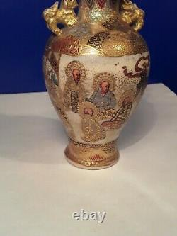 Matching Pair of Early Meiji Satsuma Vases Signed