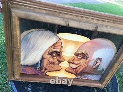 Mexico 3-D Illusionist Skeleton/Old Couple Octavio Ocampo 1989 Print Wood Frame