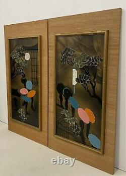 Mid Century Geisha Silkscreen Signed Japanese Vintage Bonsai Tree Painting Pair